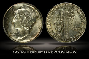 1924-S Mercury Dime PCGS MS62