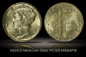 1935-D Mercury Dime PCGS MS64FB