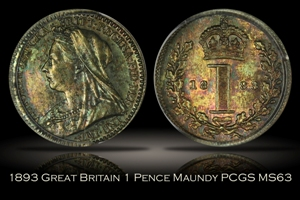 1893 Great Britain 1 Pence Maundy PCGS MS63