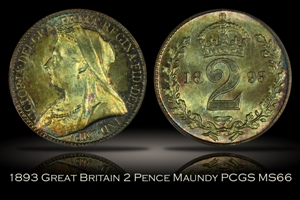 1893 Great Britain 2 Pence Maundy PCGS MS66