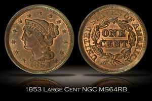 1853 Large Cent NGC MS64RB