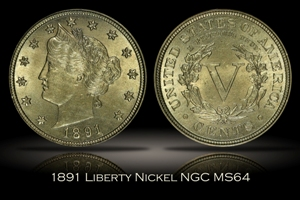 1891 Liberty Nickel NGC MS64