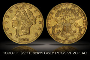 1890-CC $20 Liberty Gold PCGS VF20 CAC