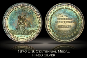 1876 US Centennial Official Medal Silver HK-20 w/ Original Box of Issue
